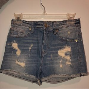 Express Distressed High Waisted Jean Shorts